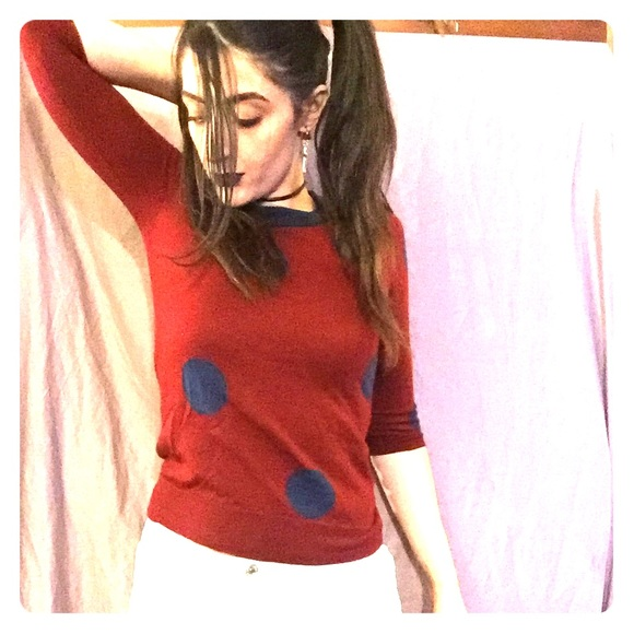 J. Crew Sweaters - XS J Crew red/blue polka dot wool sweater